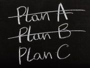 blackboard with plans A, B, C