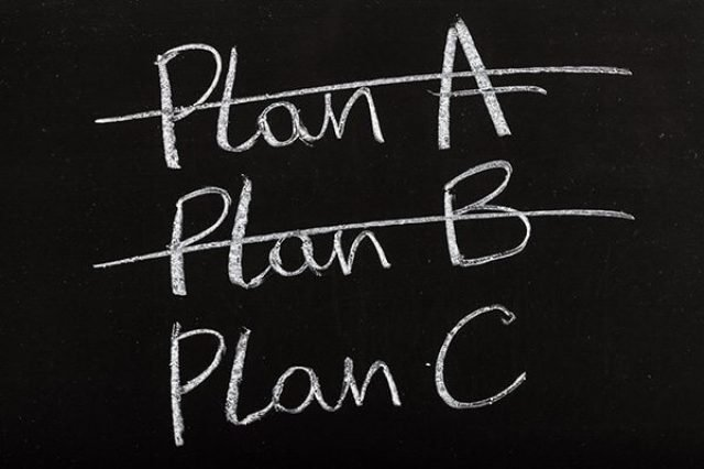 blackboard with plans A, B, C