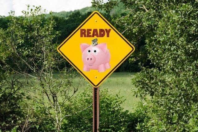 ready sign with piggybank